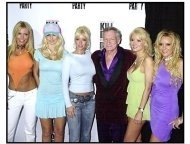 """Hugh Hefner and his playmates at the """"Kill Bill Vol. 1"""" DVD Release Party"""