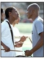 Drumline movie still: Nick Cannon (left) has a battle of wills and talent with bandmate and nemesis Leonard Roberts