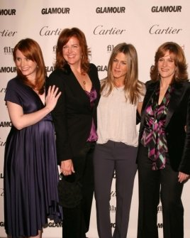 Bryce Dallas Howard and Andrea Buchanan with Jennifer Aniston and Carol Leifer