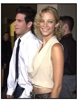 Amy Smart with Brandon Williams at the Rat Race premiere