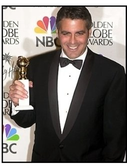 George Clooney backstage at the 2001 Golden Globe Awards