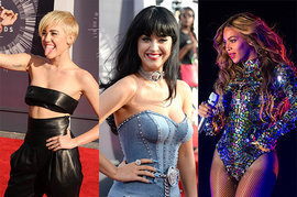 Miley Cyrus, Katy Perry and Beyonce
