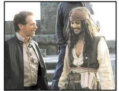 """""""Pirates of the Caribbean: The Curse of the Black Pearl"""" Movie Still: Producer Jerry Bruckheimer and Johnny Depp"""