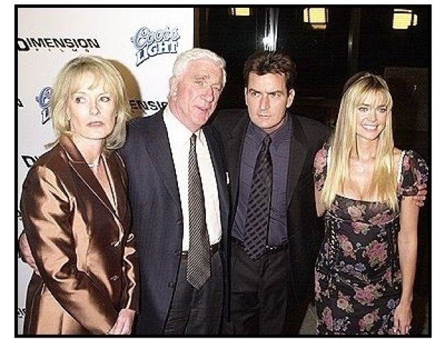 "Leslie Nielsen and his wife with Charlie Sheen and Denise Richards at the ""Scary Movie 3"" premiere"