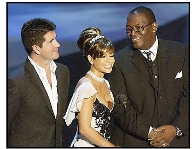 Presenters Simon Cowell, Paula Abdul and Randy Jackson at The 55th Annual Primetime Emmy Awards