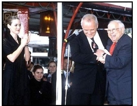 Anthony Hopkins, Winona Ryder and Johnny Grant at the Hand and Footprint Ceremony